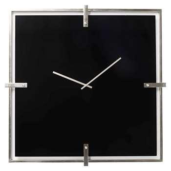 Square glass clock black large (H91 x W91 x D5cm)
