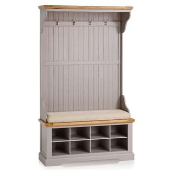 St. Ives Natural Oak & Grey Painted Hallway Unit, Plain Beige (H197 x W118.5 x D40cm)
