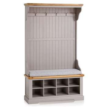 St. Ives Natural Oak & Grey Painted Hallway Unit, Plain Grey (H197 x W118.5 x D40cm)