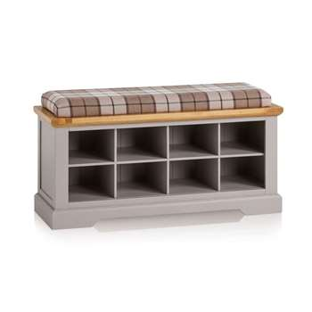 St. Ives Natural Oak & Grey Painted Shoe Storage, Check Brown (H52 x W181.5 x D40cm)