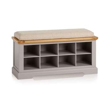 St. Ives Natural Oak & Grey Painted Shoe Storage, Plain Beige (H52 x W118.5 x D40cm)