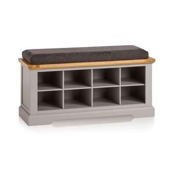 St. Ives Natural Oak & Grey Painted Shoe Storage, Plain Charcoal (H52 x W118.5 x D40cm)