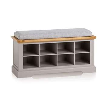 St. Ives Natural Oak & Grey Painted Shoe Storage, Plain Grey (H52 x W118.5 x D40cm)