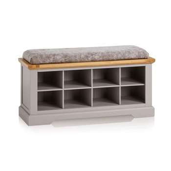 St. Ives Natural Oak & Grey Painted Shoe Storage, Plain Truffle (H52 x W118.5 x D40cm)