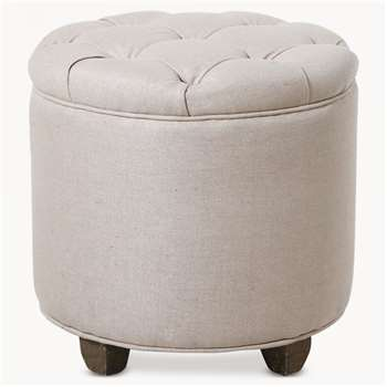 St James Beige Buttoned Padded Stool (43 x 43cm)