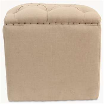St James Beige Buttoned Top Stool (45 x 45cm)