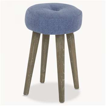 St James Blue Round Padded Stool (44 x 26cm)