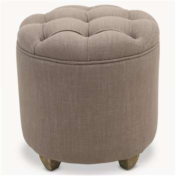 St James Grey Buttoned Padded Stool (43 x 43cm)