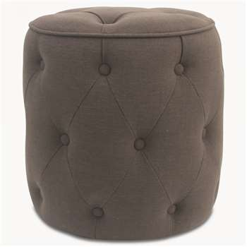St James New Grey Buttoned Round Stool (H46 x W44 x D44cm)