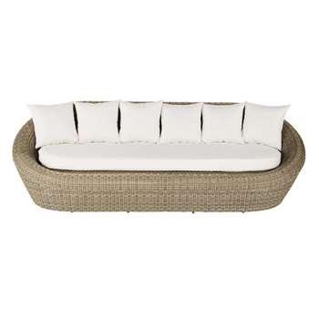 ST RAPHAËL 3/4 seater wicker garden sofa, ecru (77 x 243cm)
