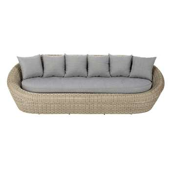 ST RAPHAËL 3/4 seater wicker garden sofa, grey (77 x 243cm)