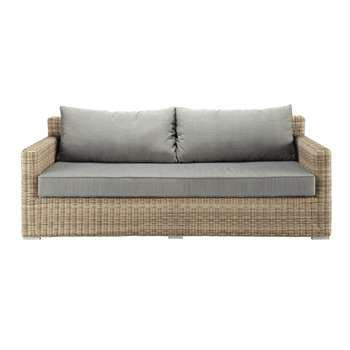 ST RAPHAËL 3 seater wicker garden sofa, grey (80 x 220cm)