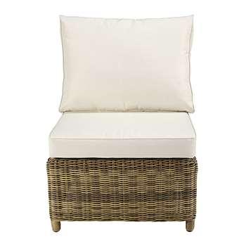 ST RAPHAËL Modular garden armless single seat sofa in grey resin wicker with ecru cushions (86 x 63cm)