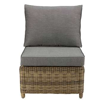 ST RAPHAËL Modular garden armless single seat sofa in grey resin with grey cushions (86 x 63cm)