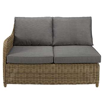 ST RAPHAËL Modular left hand garden single seat in resin wicker with grey cushions (86 x 128cm)