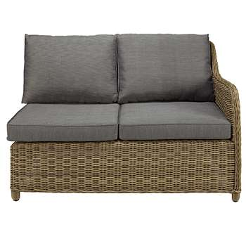 ST RAPHAËL Modular right hand garden single seat in resin wicker with grey cushions (86 x 128cm)
