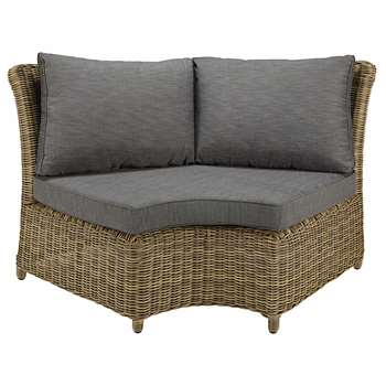 ST RAPHAËL Modular round garden corner sofa unit in resin wicker with grey cushions (86 x 156cm)