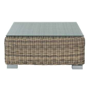 ST RAPHAËL Tempered glass and wicker garden coffee table (32 x 76cm)