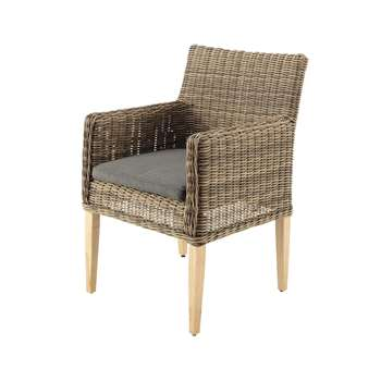 ST RAPHAËL Wicker garden armchair in grey (87 x 59cm)