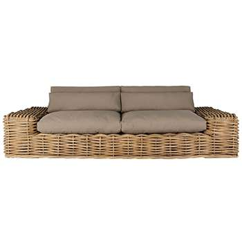 ST TROPEZ 2/3-seater garden sofa in rattan with taupe cushions (61 x 278cm)