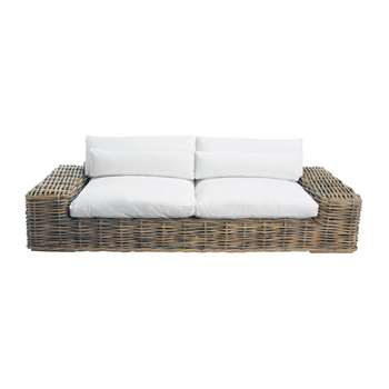 ST TROPEZ 3/4 seater rattan and fabric sofa in ivory (61 x 278cm)