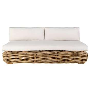 ST TROPEZ 3-seater garden bench in rattan with ecru cushions (H75 x W180 x D120cm)