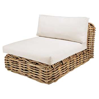 ST TROPEZ Modular garden armless single seat sofa in rattan with ecru cushions (75 x 90cm)