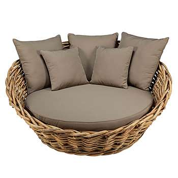 ST TROPEZ Round garden sofa in rattan with taupe cushions St (68 x 150cm)