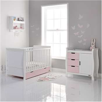Stamford Cot Bed 2 Piece Nursery Set in Eton Mess and White By Obaby