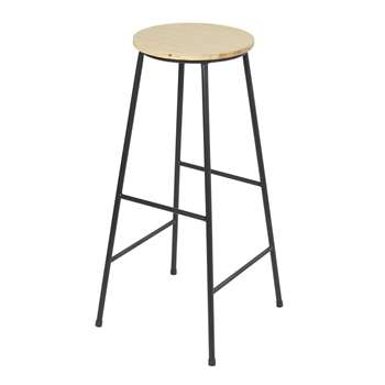 STAN - Fir and Black Metal Industrial Bar Stool (H78 x W38 x D38cm)