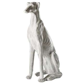 STANISLAS - Aged Effect Whitewashed Grey Dog Ornament (H77 x W24.5 x D45cm)