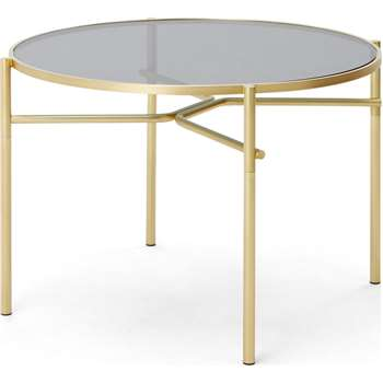 Stanley 4 Seat Round Dining Table, Glass and Metal (H75 x W110 x D110cm)