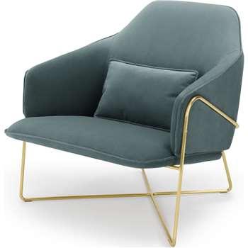 Stanley Accent Chair, Marine Green Velvet (H86 x W84 x D91cm)