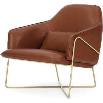 Stanley Accent Chair, Pecan Brown Leather with Brass Frame (H85 x W84 x D90cm)