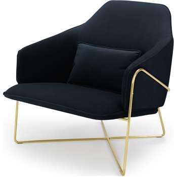 Stanley Accent Chair, Twilight Blue Velvet (H86 x W84 x D91cm)