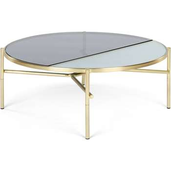 Stanley Coffee Table, Smoked Rippled Glass and Brass (H35 x W90 x D90cm)