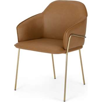 Stanley Frame Carver Dining chair, Brass and Tan PU (H81 x W59 x D58cm)
