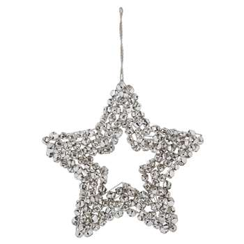 Star Bell Silver Effect Wreath (H24 x W24 x D3.5cm)