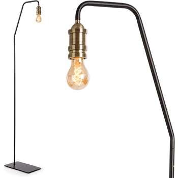 Starkey Floor Lamp, Black and Brass (165 x 32cm)