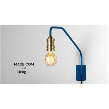 Starkey Wall Lamp, Blue and Brass (35 x 55cm)