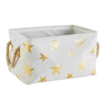 STARS White and Gold Storage Basket (24 x 44cm)