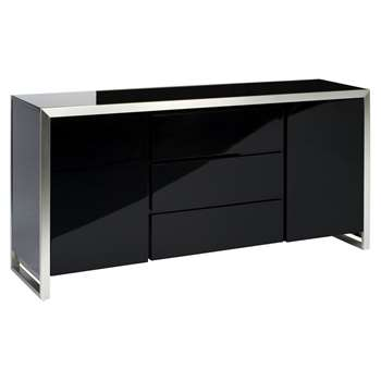Steel frame gloss sideboard black (83 x 175cm)