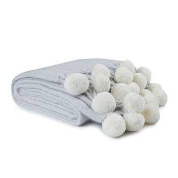 Steel Pom Pom Knitted Blanket (130 x 170cm)