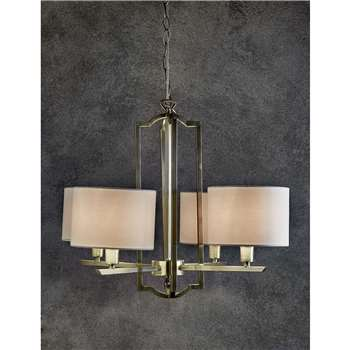 Stella 4 Light Chandelier, Antique Brass (50 x 55cm)