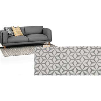 Stella Large Tufted Wool Rug, Ash Grey (160 x 230cm)