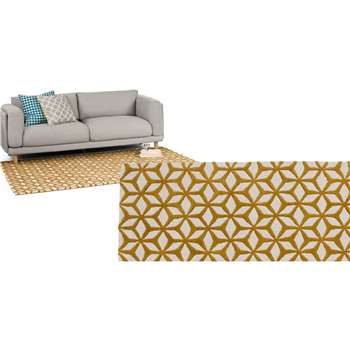 Stella Large Tufted Wool Rug, Mustard (160 x 230cm)
