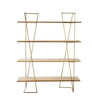 STELLA - Mango Wood and Brass Shelf (H177 x W140 x D35cm)