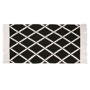 STEVENS Black Cotton Rug with White Graphic Print (H60 x W90cm)