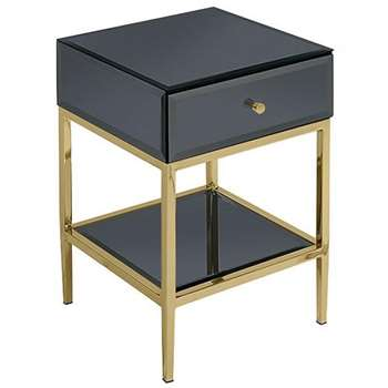 Stiletto Toughened Black Glass and Brass Side Table (H60 x W40 x D40cm)