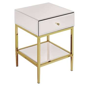 Stiletto Toughened White Glass and Brass Side Table (H60 x W40 x D40cm)